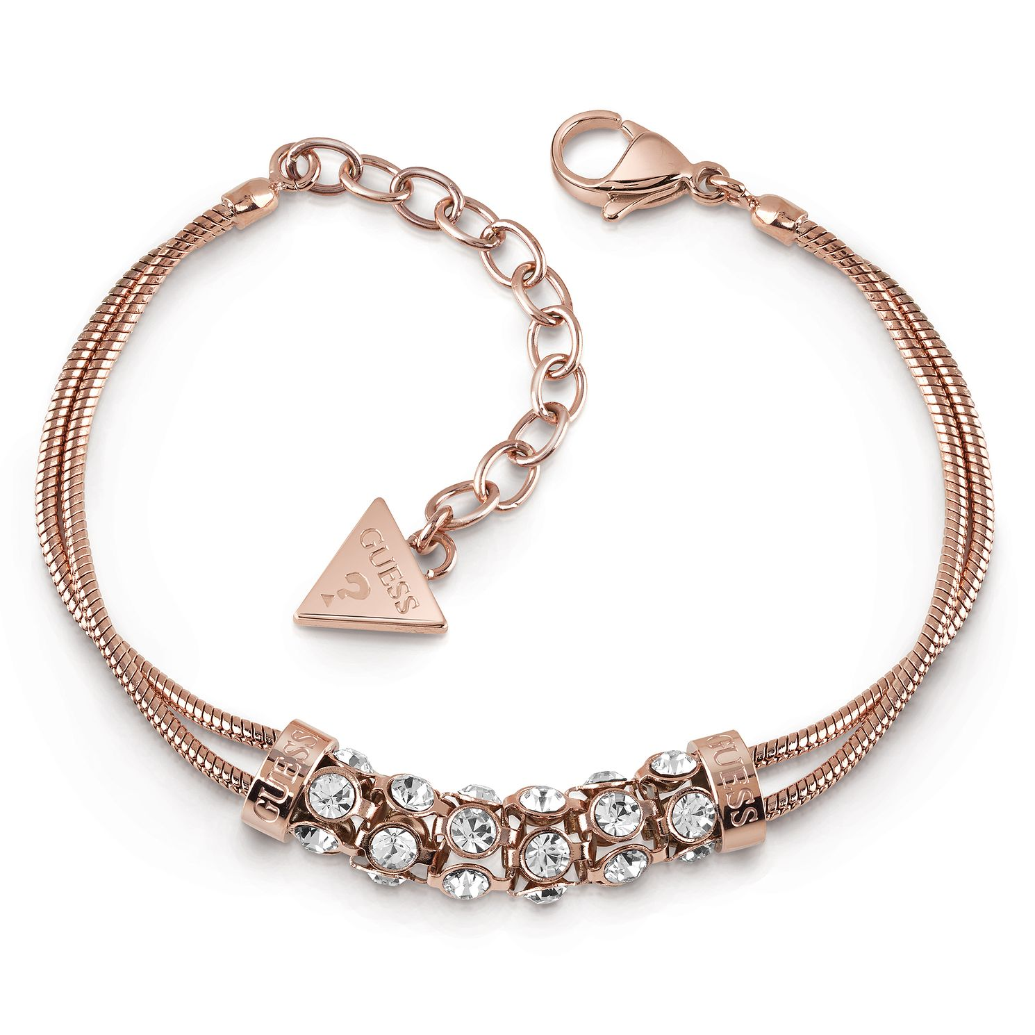 Guess Rose Gold Plated Crystal Double Bracelet - Product number 1082671