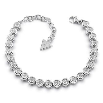 Guess Rhodium Plated Crystal Tennis Bracelet - Product number 1082787