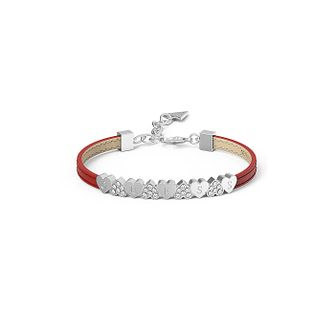 Guess Red Leather Crystal Heart Bracelet - Product number 1082914
