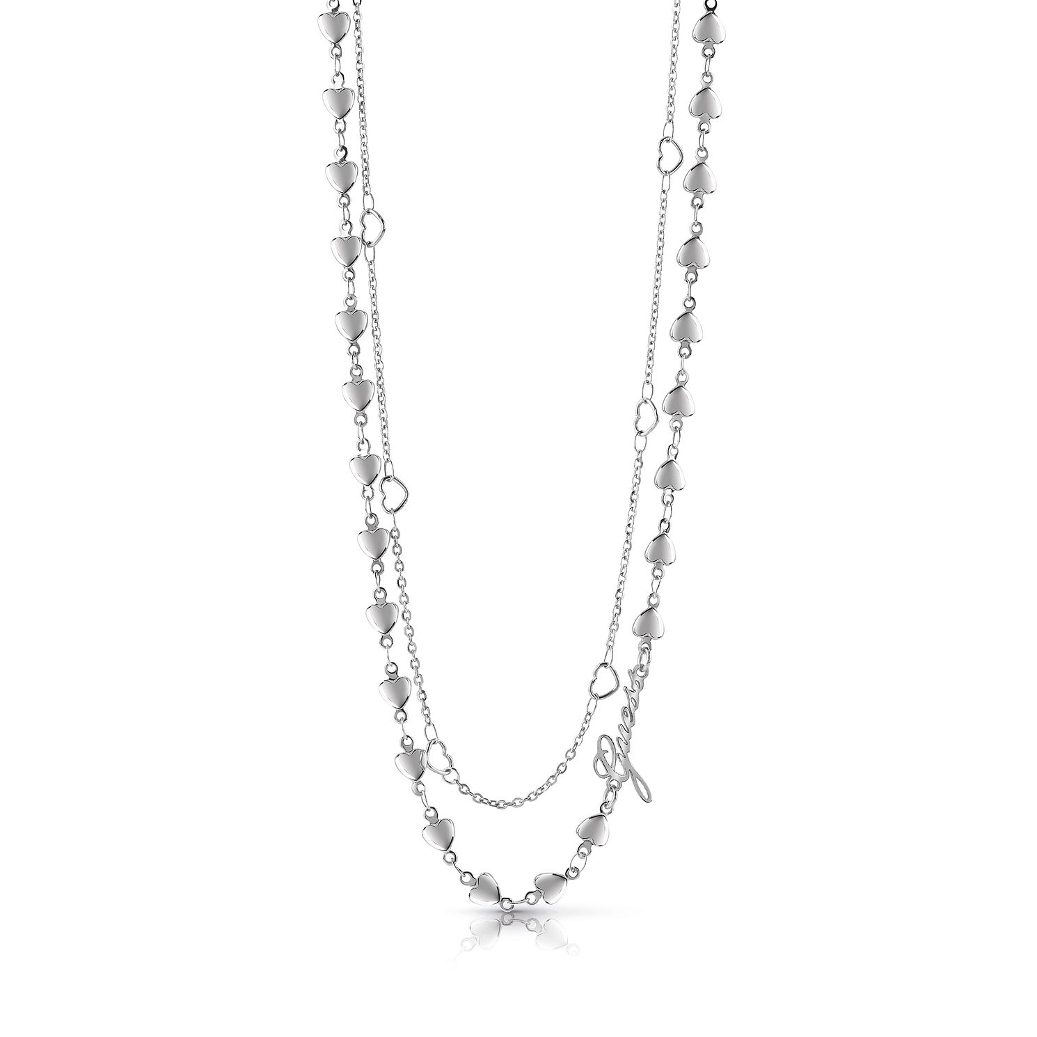 Guess Rhodium Plated 16-18 inches Double Hearts Necklace - Product number 1082930