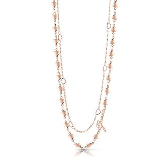 "Guess Rose Gold Plated 16-18"" Double Chain Heart Necklace. - Product number 1082949"