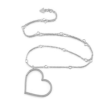 Guess Rhodium Plated 31 inches Heart Charm Crystal Necklace - Product number 1082957
