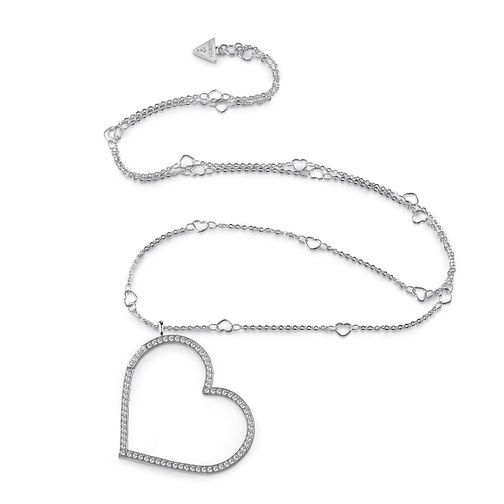"Guess Rhodium Plated 31"" Heart Charm Crystal Necklace - Product number 1082957"