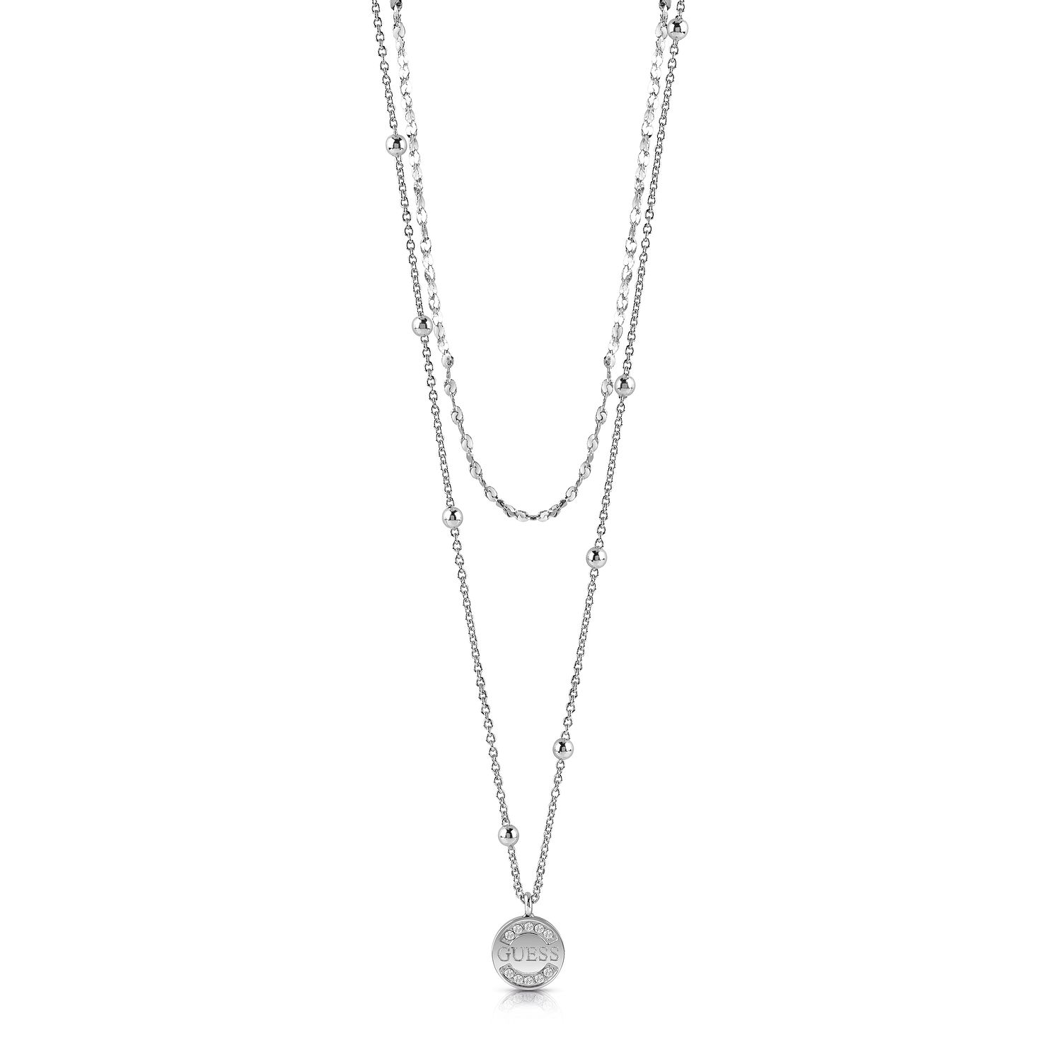 Guess Rhodium Plated 16-20 inches Crystal Coin Pendant - Product number 1083015