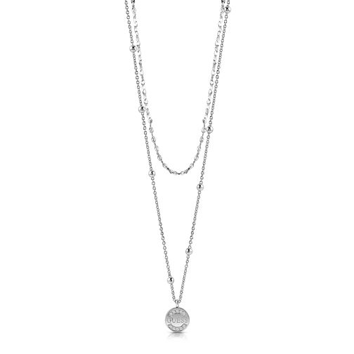"Guess Rhodium Plated 16-20"" Crystal Coin Pendant - Product number 1083015"
