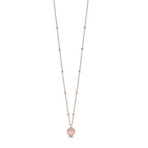 "Guess Rose Gold Plated 16-20"" Crystal Coin Pendant - Product number 1083031"
