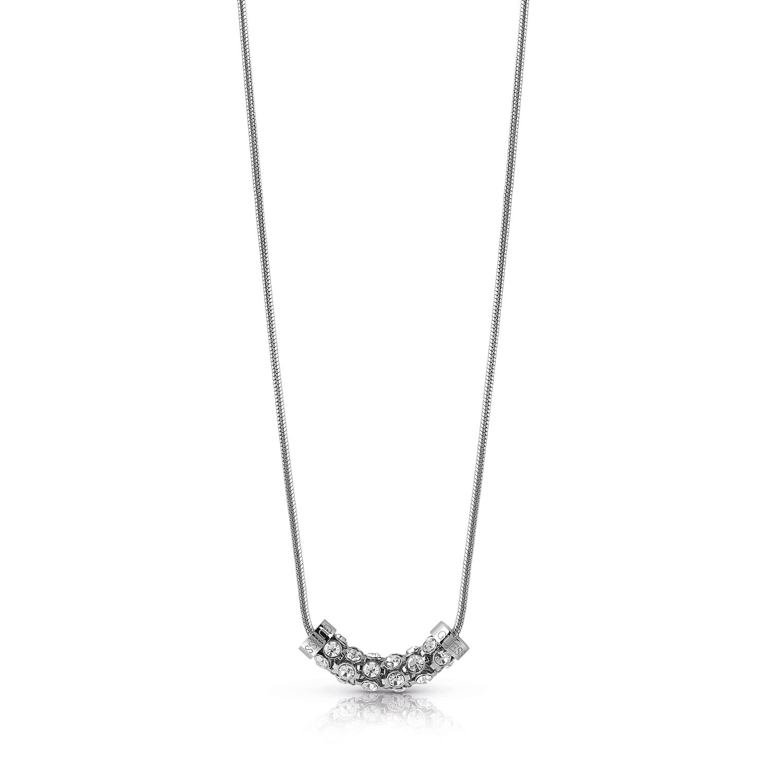 Guess Rhodium Plated 16-18 inches Crystal Coil Necklace - Product number 1083082