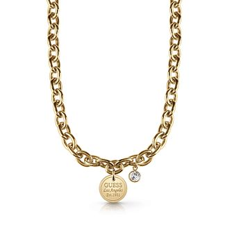 Guess Gold Plated Crystal Coin Pendant Necklace - Product number 1083112