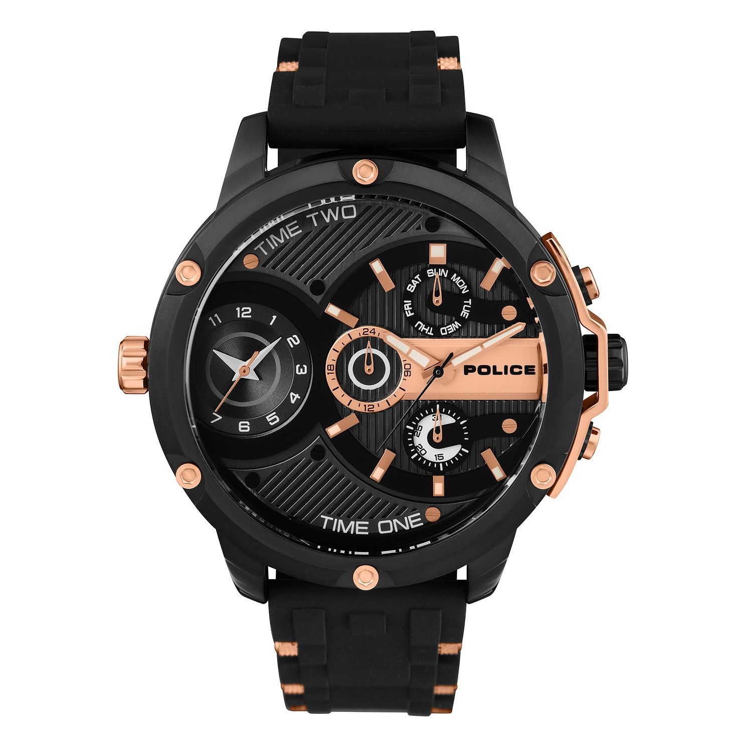 Police Leader Men's Black Silicone Strap Watch - Product number 1084003