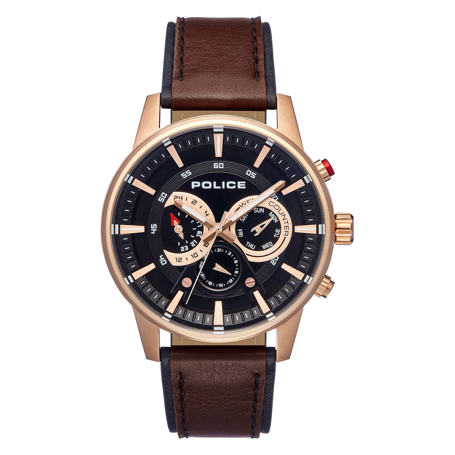 Police Avondale Men's Brown Leather Strap Watch - Product number 1084046