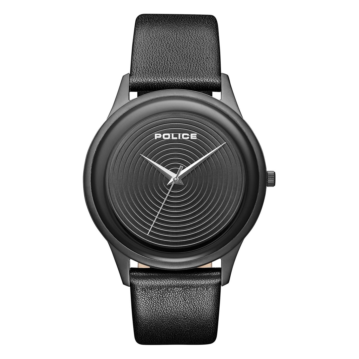 Police Salerno Men's Black Leather Strap Watch - Product number 1084062