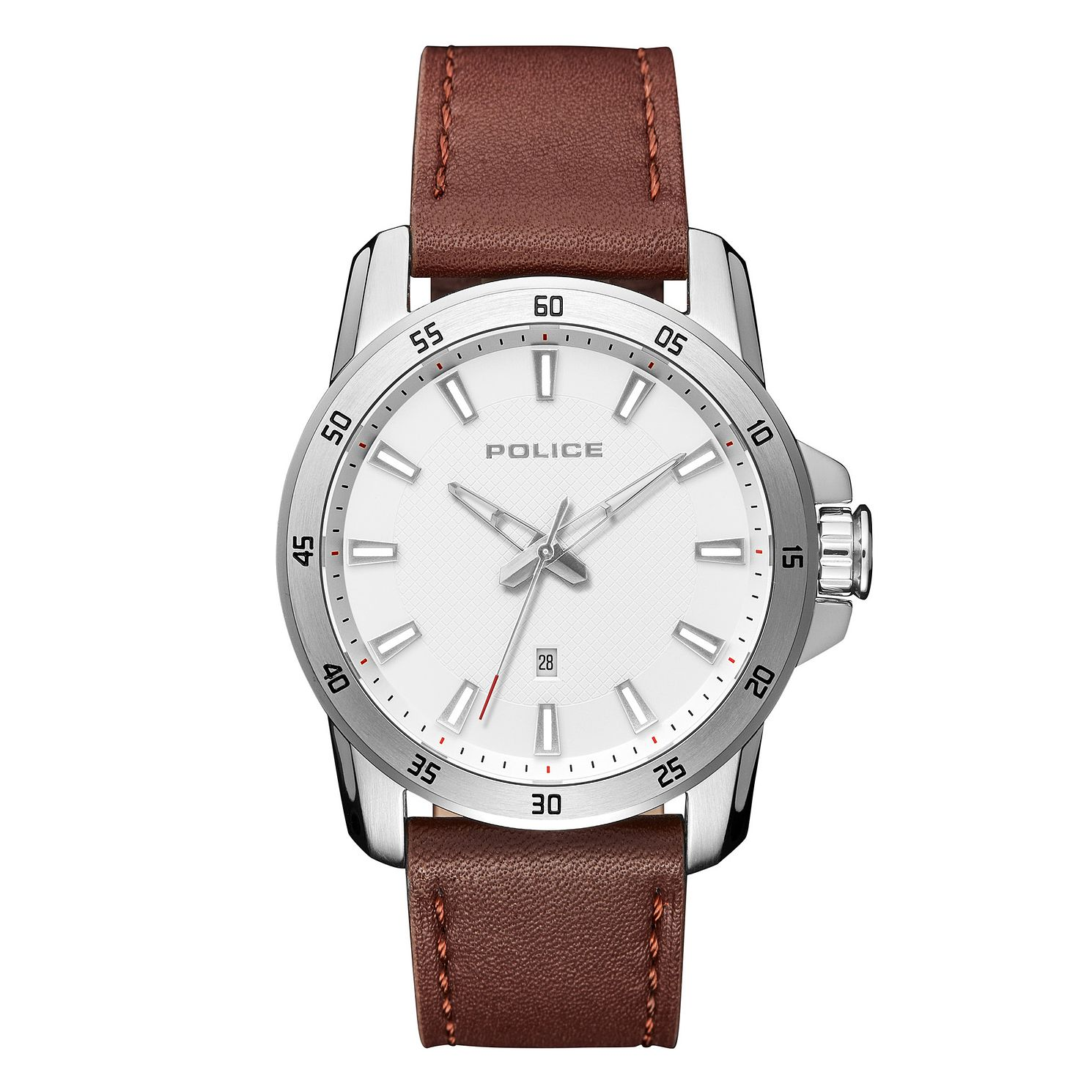 Police Tromso Men's Brown Leather Strap Watch - Product number 1084089