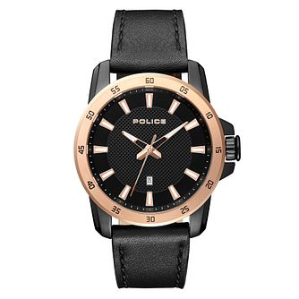 Police Tromso Men's Black Leather Strap Watch - Product number 1084097