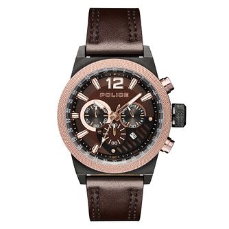 Police Ladbroke Men's Brown Leather Strap Watch - Product number 1084119