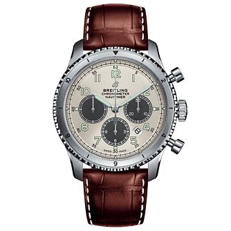 Breitling Aviator 8 B01 Men's Brown Leather Strap Watch - Product number 1084127