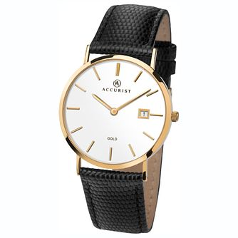 Accurist 9ct Gold Black Leather Strap Watch - Product number 1084240