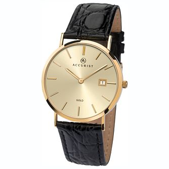 Accurist 9ct Gold Case Black Leather Strap Watch - Product number 1084275