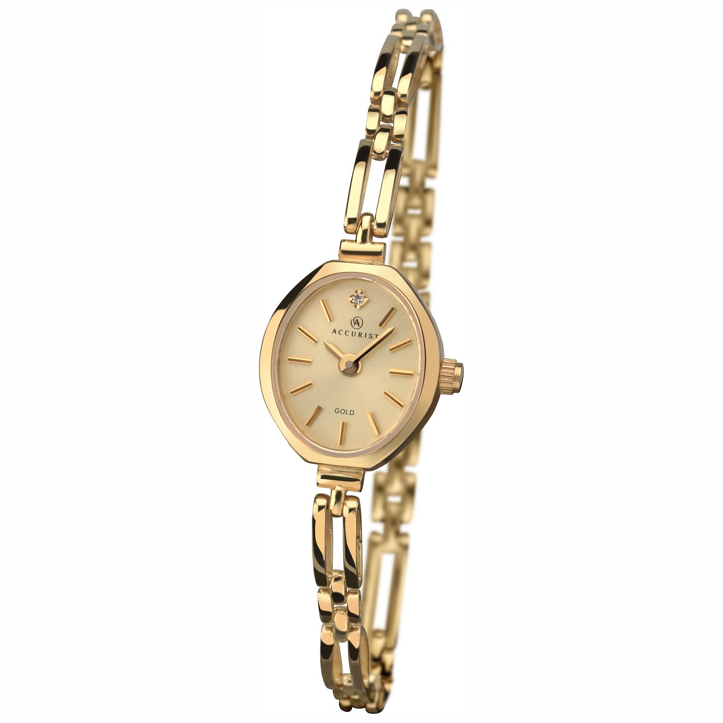 Accurist 9ct Gold Oval Champagne Dial Bracelet Watch - Product number 1084305