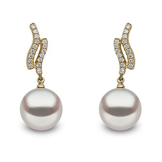 Yoko London 18ct Yellow Gold Cultured Pearl Diamond Earrings - Product number 1084704