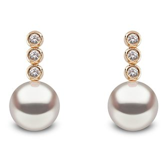 Yoko London 18ct Yellow Gold Cultured Pearl Diamond Earrings - Product number 1084720