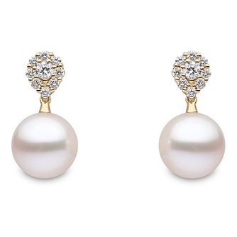 Yoko London 18ct Yellow Gold Cultured Pearl Diamond Earrings - Product number 1084755
