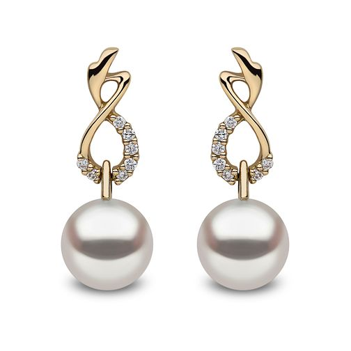 Yoko London 18ct Yellow Gold Cultured Pearl Diamond Earrings - Product number 1084763