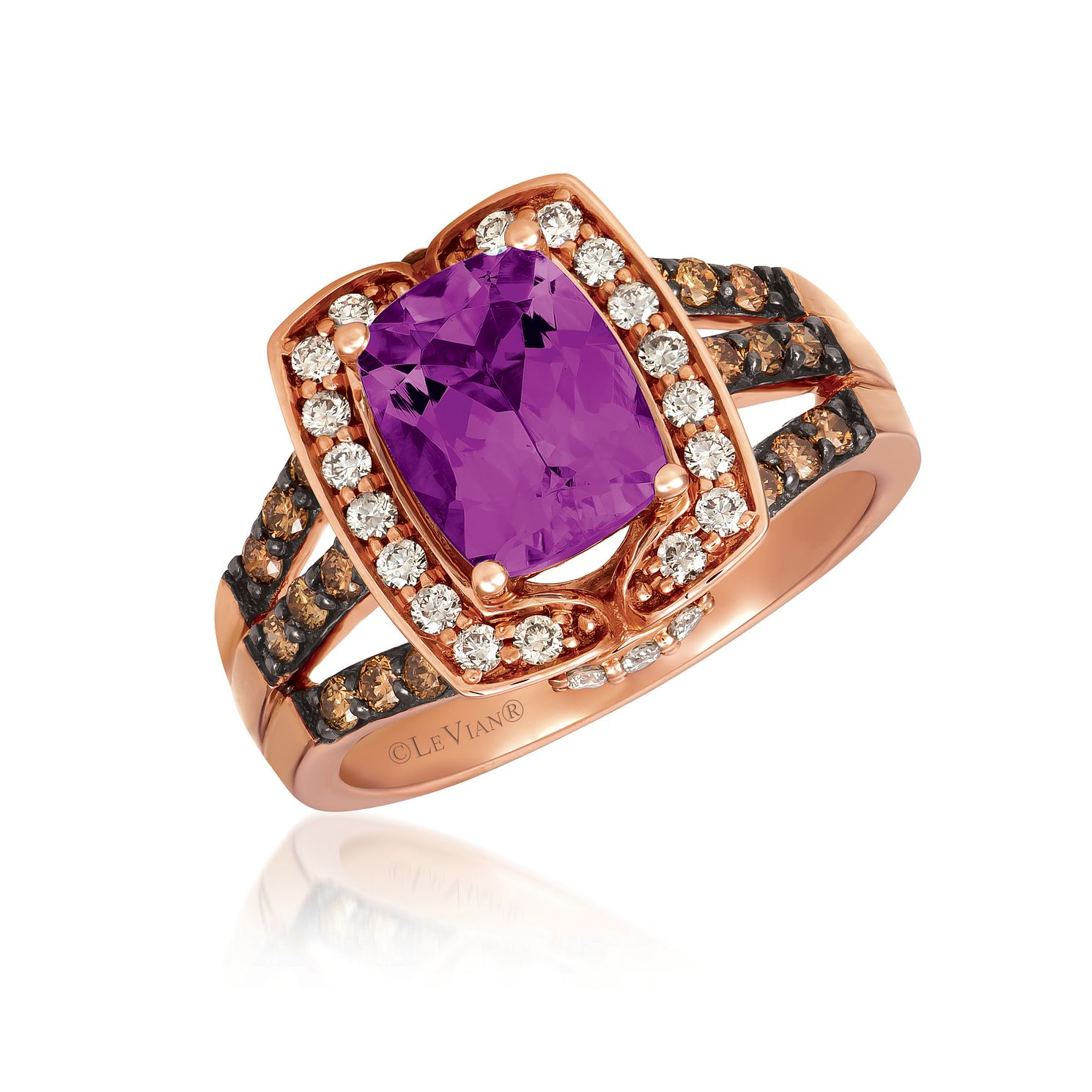 Le Vian 14ct Strawberry Gold Amethyst & 0.45ct Diamond Ring - Product number 1086596