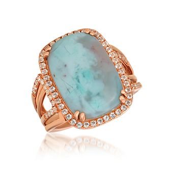 Le Vian 14ct Strawberry Gold Aquaprase & Topaz Halo Ring - Product number 1086855