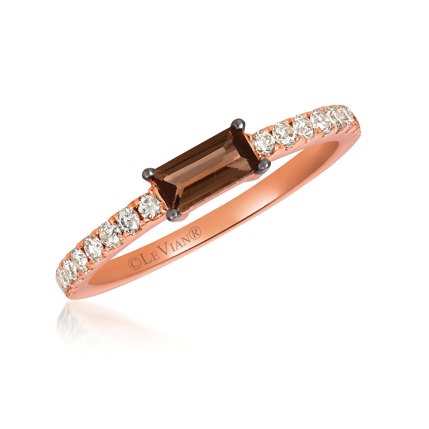 Le Vian 14ct Strawberry Gold Chocolate Quartz & Diamond Ring - Product number 1088009