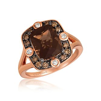 Le Vian 14ct Strawberry Gold Diamond Chocolate Quartz Ring - Product number 1088289