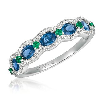 Le Vian 14ct Gold Sapphire, Emerald & 0.14ct Diamond Ring - Product number 1088424