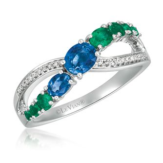 Le Vian 14ct Vanilla Gold Diamond, Sapphire & Emerald Ring - Product number 1088556