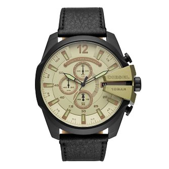 Diesel Mega Chief Men's Black Leather Strap Watch - Product number 1092367