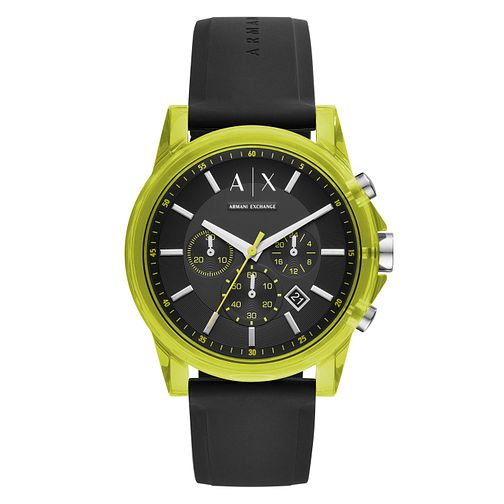 Armani Exchange Outerbanks Men's Black Silicone Strap Watch - Product number 1092480