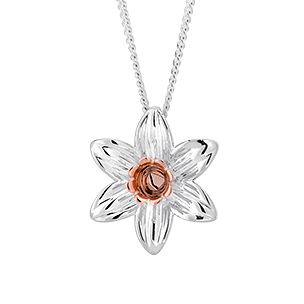Clogau Silver & 9ct Rose Gold Daffodil Pendant - Product number 1092693