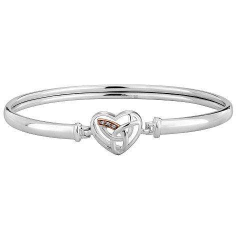 Clogau Silver & 9ct Rose Gold Eternal Love Diamond Bangle