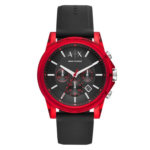 Armani Exchange Outerbanks Men's Black Silicone Strap Watch - Product number 1093037