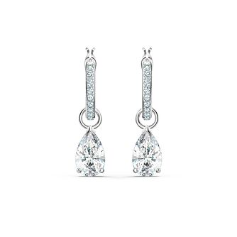 Swarovski Attract Rhodium Plated Pear Crystal Hoop Earrings - Product number 1096834