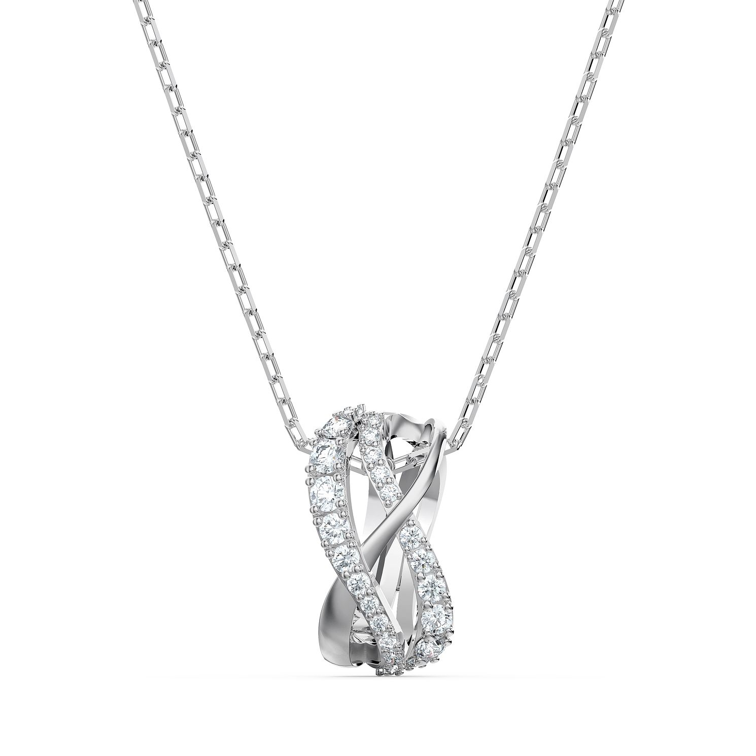 Swarovski Twist Rows Crystal Rhodium Plated Pendant - Product number 1096877