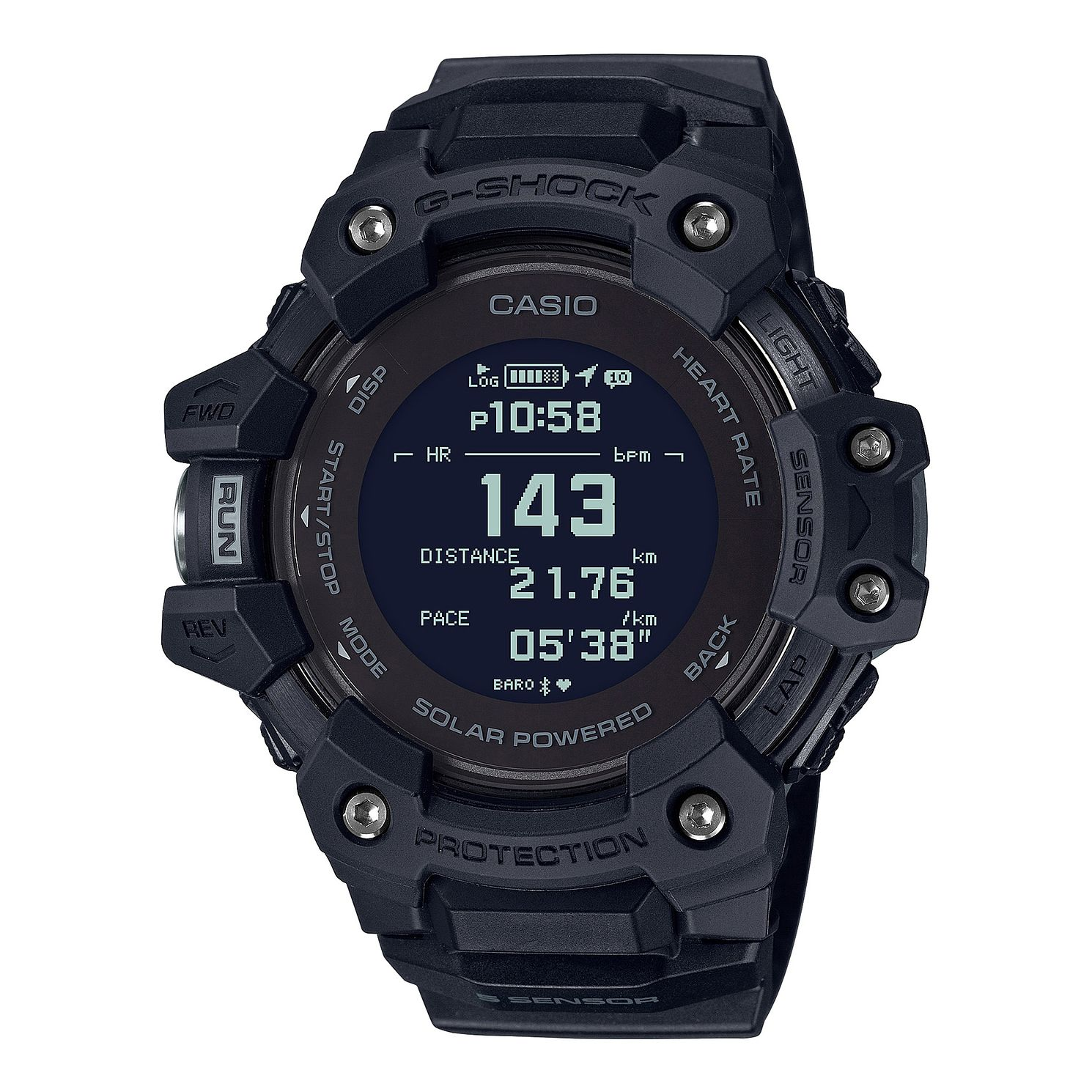 Casio G-Shock Heart Rate Monitor Black Resin Strap Watch - Product number 1097040