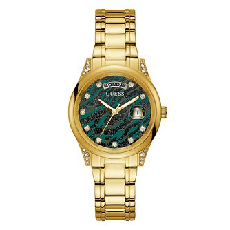 Guess Aura Crystal Ladies' Gold Tone Bracelet Watch - Product number 1097156