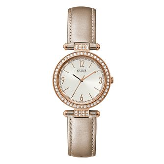 Guess Terrace Crystal Ladies' Cream Leather Strap Watch - Product number 1097288