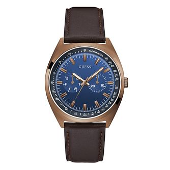 Guess Blazer Men's Brown Leather Strap Watch - Product number 1097512