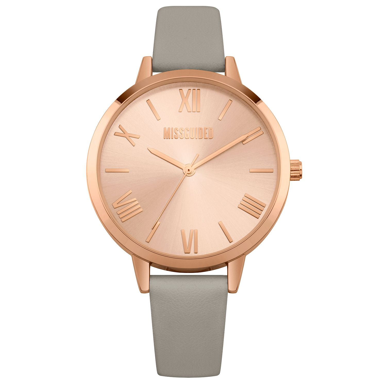 Missguided Ladies' Rose Gold Tone Grey PU Strap Watch - Product number 1097792
