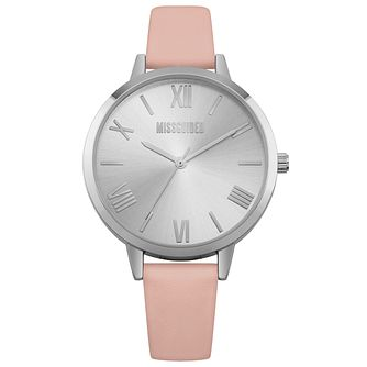 Missguided Ladies' Silver Tone Pink PU Strap Watch - Product number 1097806