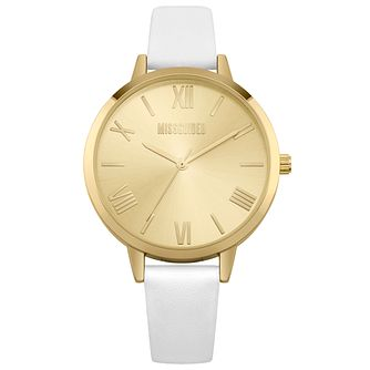 Missguided Ladies' Champagne Tone White PU Strap Watch - Product number 1097814