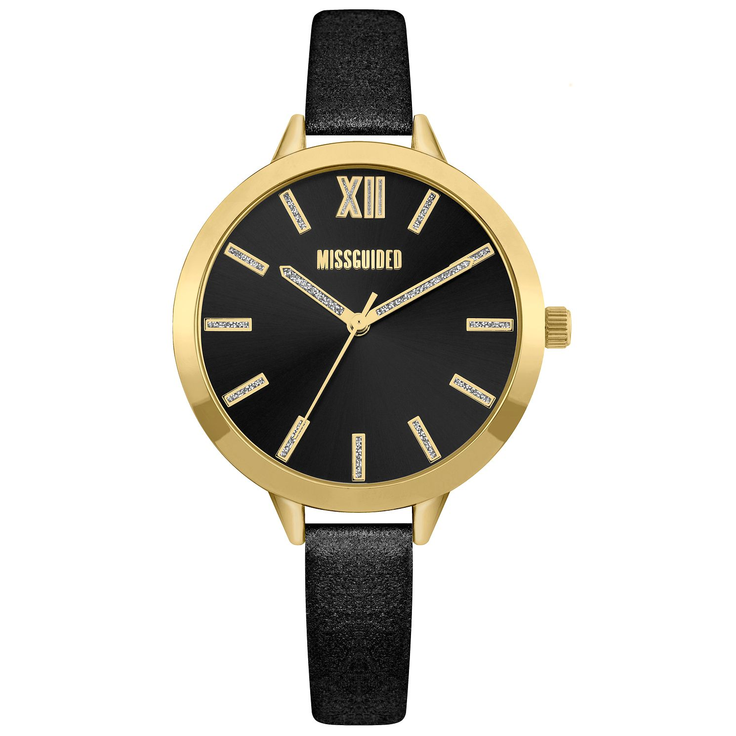 Missguided Ladies' Glitter Gold Tone Black PU Strap Watch - Product number 1097962
