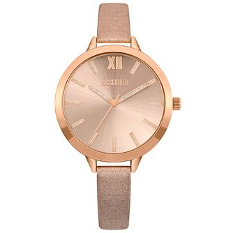 Missguided Ladies' Glitter Rose Gold Tone PU Strap Watch - Product number 1097970