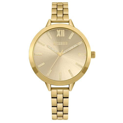 Missguided Ladies' Glitter Gold Tone Bracelet Watch - Product number 1097989