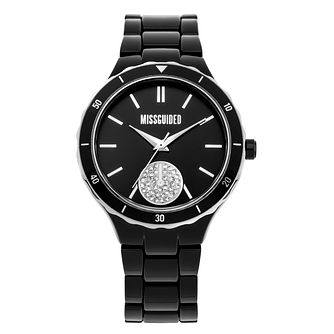 Missguided Stone Set Subdial Black Alloy Bracelet Watch - Product number 1098047